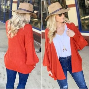 Rust Open Knit Sweater Cardigan With Pockets